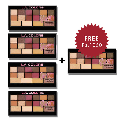 L.A. Colors 16 Color Eyeshadow Palette - Brave 4pc Set + 1 Full Size Product Worth 25% Value Free