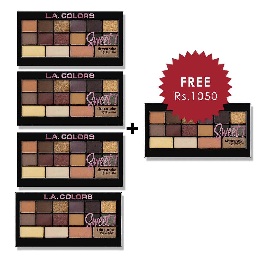 L.A. Colors 16 Color Eyeshadow Palette - Seductive 4pc Set + 1 Full Size Product Worth 25% Value Free