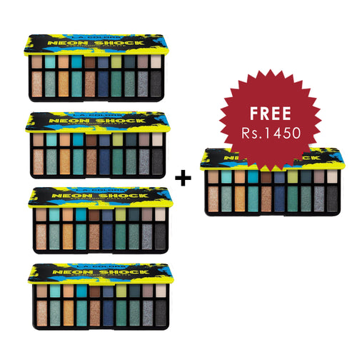 L.A. Colors Neon Shock Eyeshadow Palette - Jolt 4pc Set + 1 Full Size Product Worth 25% Value Free