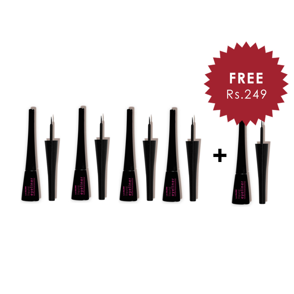 L.A. Colors Thin Tip Liquid Eye Liner - Black 4pc Set + 1 Full Size Product Worth 25% Value Free
