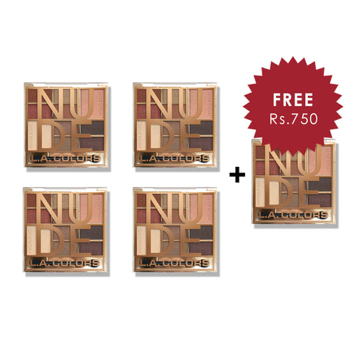 L.A. Colors Color Block 10 Color Eyeshadow Palette - Nude 4pc Set + 1 Full Size Product Worth 25% Value Free