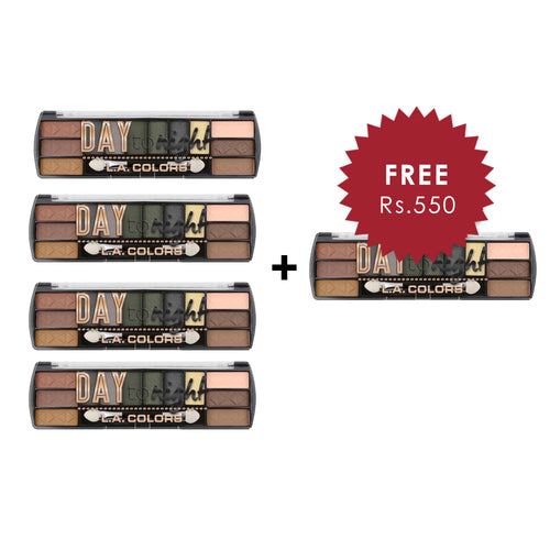 L.A. Colors Day to Night 12 Color Eyeshadow - Sunrise 4pc Set + 1 Full Size Product Worth 25% Value Free