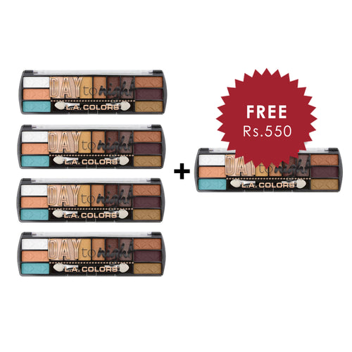 L.A. Colors Day to Night 12 Color Eyeshadow - Sunset 4pc Set + 1 Full Size Product Worth 25% Value Free