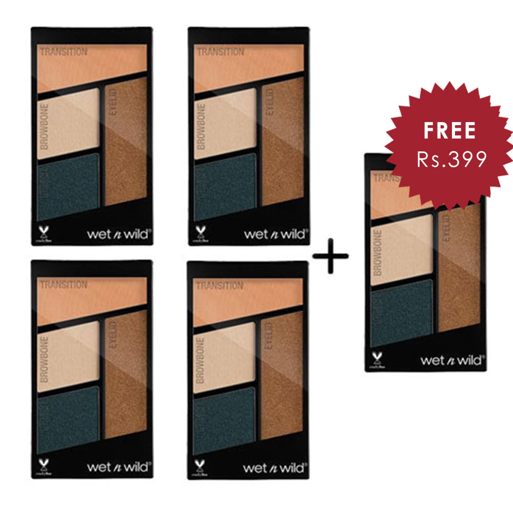 Wet N Wild Color Icon Eyeshadow Quad - Hooked On Vinyl 4pc Set + 1 Full Size Product Worth 25% Value Free