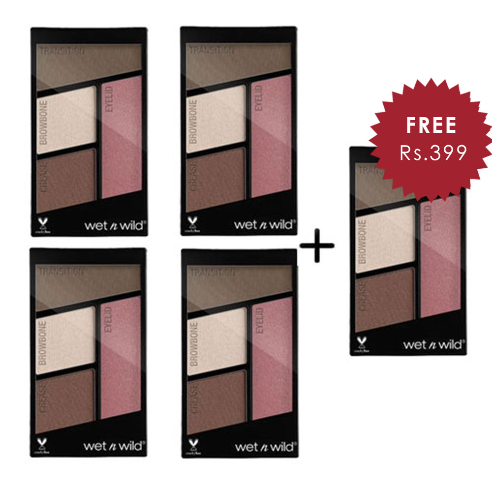 Wet N Wild Color Icon Eyeshadow Quad - Sweet As Candy 4pc Set + 1 Full Size Product Worth 25% Value Free