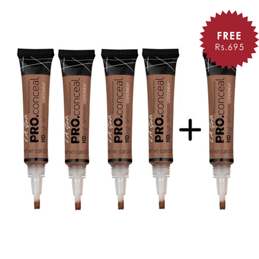 L.A. Girl Pro Conceal HD- Dark Cocoa 4pc Set + 1 Full Size Product Worth 25% Value Free