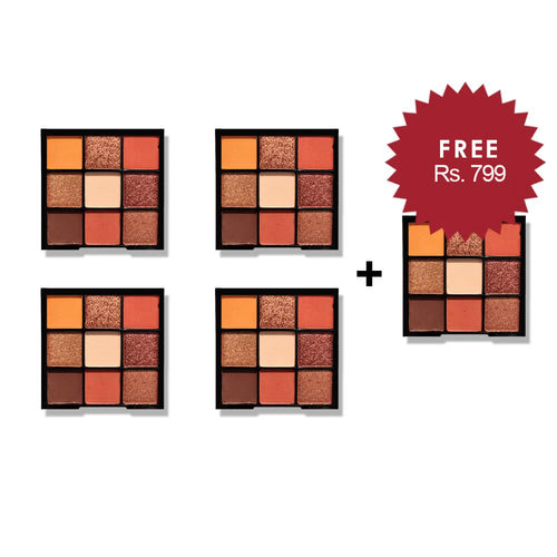 Nicka K Nine Color Eyeshadow Palette - Autumn Spice 4Pcs Set + 1 Full Size Product Worth 25% Value Free