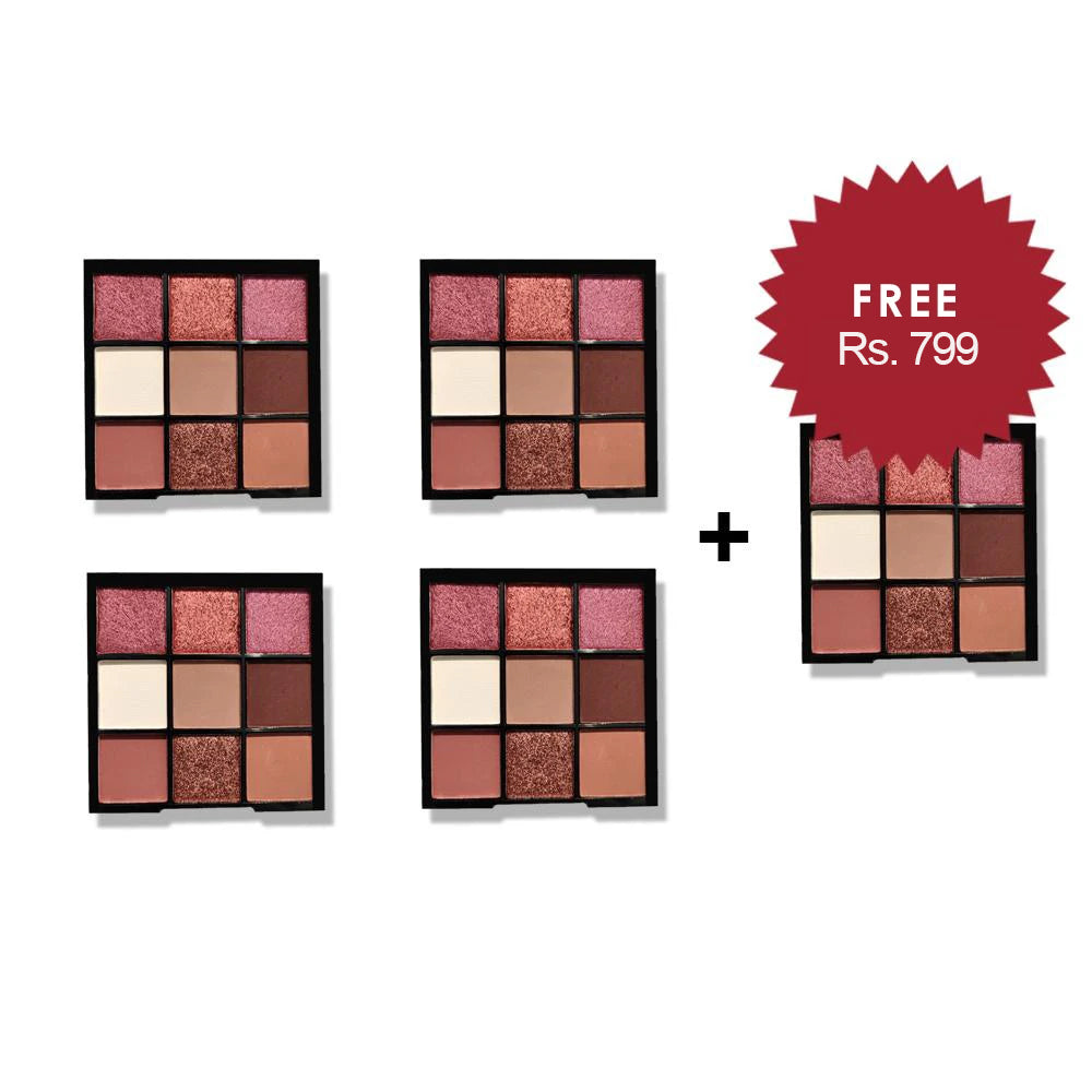 Nicka K Nine Color Eyeshadow Palette - Mocha Mix 4Pcs Set + 1 Full Size Product Worth 25% Value Free