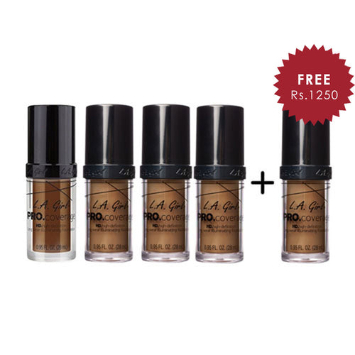 L.A. Girl Pro Coverage Illuminating HD Foundation- Coffee 4pc Set + 1 Full Size Product Worth 25% Value Free