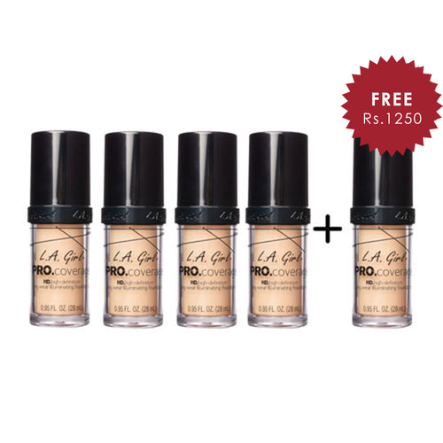 L.A. Girl Pro Coverage Illuminating HD Foundation- Porcelain 4pc Set + 1 Full Size Product Worth 25% Value Free