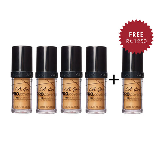L.A. Girl Pro Coverage Illuminating HD Foundation- Soft Honey 4pc Set + 1 Full Size Product Worth 25% Value Free