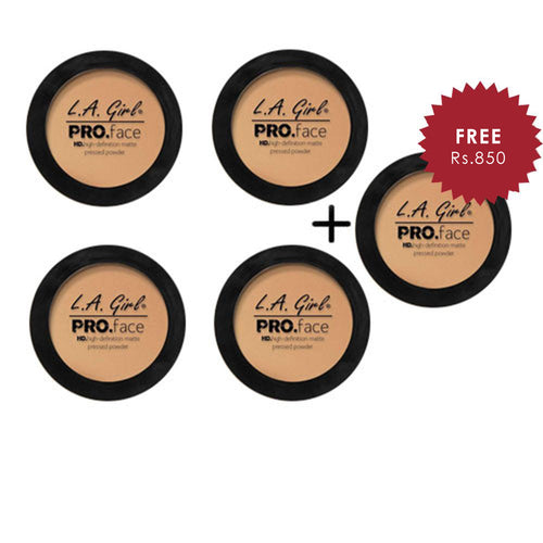 L.A. Girl HD Pro Face Pressed Powder - Medium Beige 4pc Set + 1 Full Size Product Worth 25% Value Free
