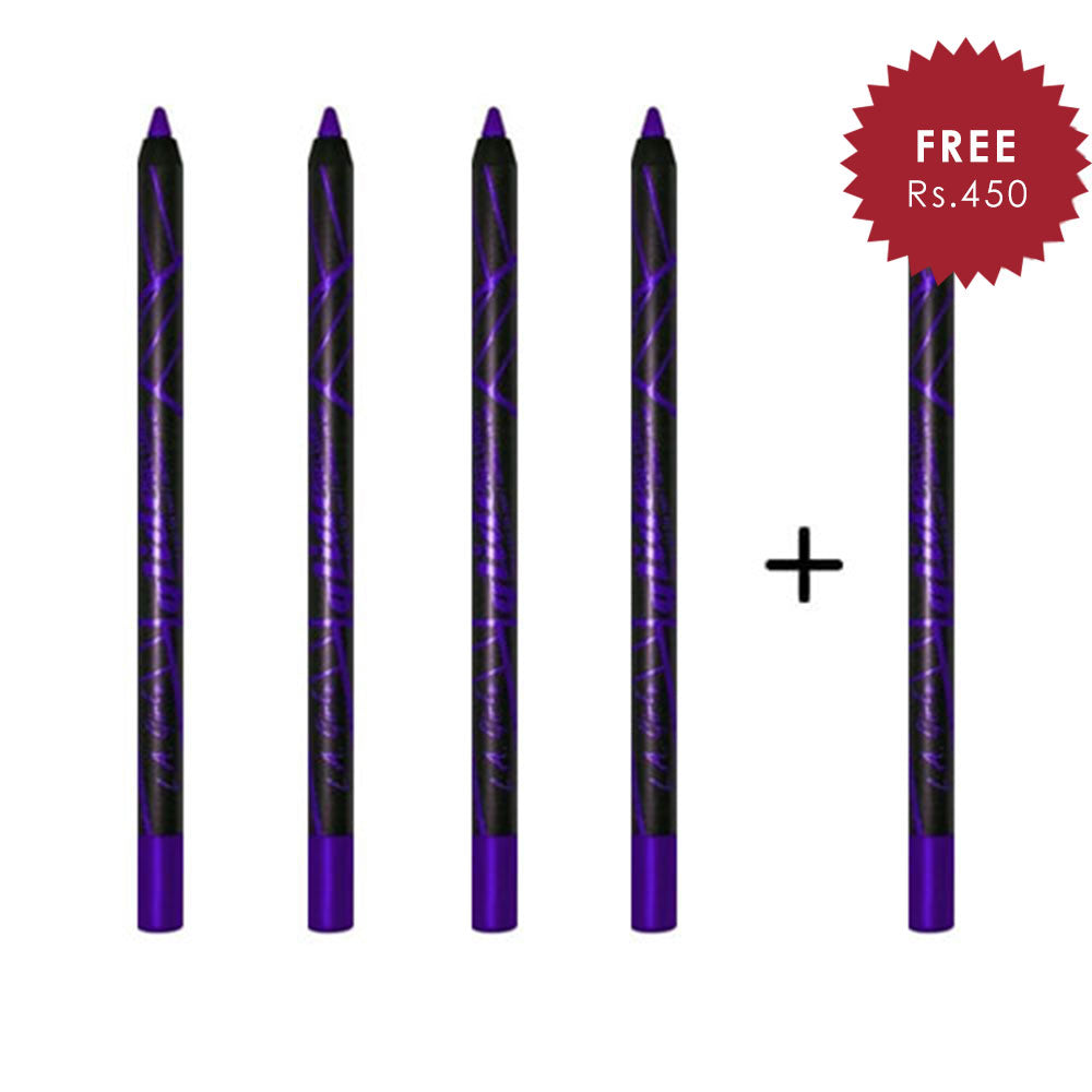 L.A. Girl Glide Gel Eye Liner Pencil - Paradise Purple 4pc Set + 1 Full Size Product Worth 25% Value Free
