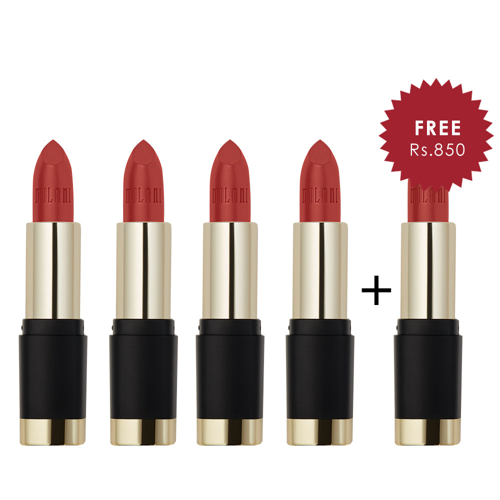 Milani Bold Color Statement Matte Lipstick I Am Fierce 4pc Set + 1 Full Size Product Worth 25% Value Free