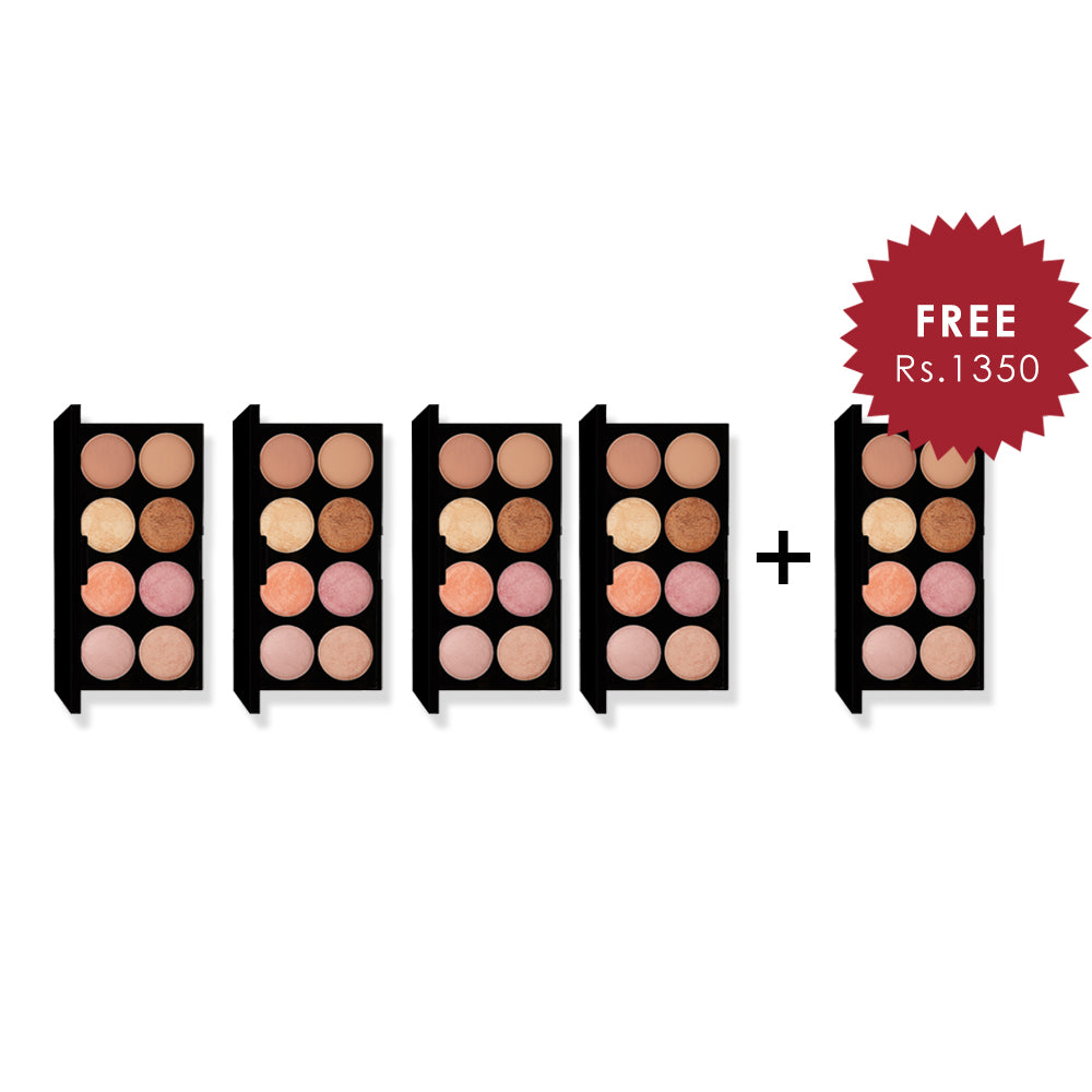 Makeup Revolution Ultra Palette Golden Sugar 2 - Blush, Bronze & Highlight 4Pcs Set + 1 Full Size Product Worth 25% Value Free