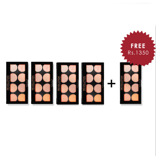 Makeup Revolution Ultra Blush Palette Hot Spice 4Pcs Set + 1 Full Size Product Worth 25% Value Free