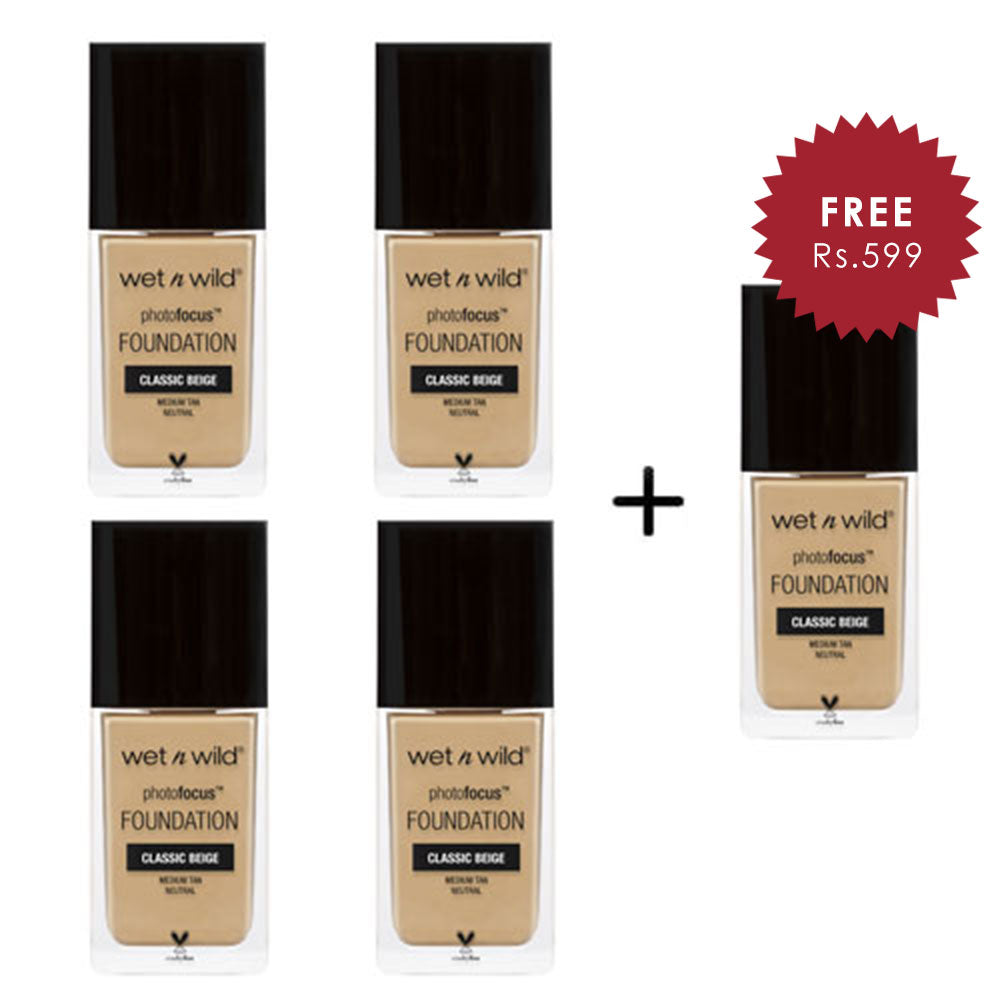 Wet N Wild Photo Focus Foundation - Classic Beige 4pc Set + 1 Full Size Product Worth 25% Value Free