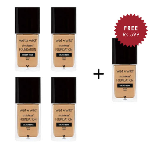 Wet N Wild Photo Focus Foundation - Golden Beige 4pc Set + 1 Full Size Product Worth 25% Value Free