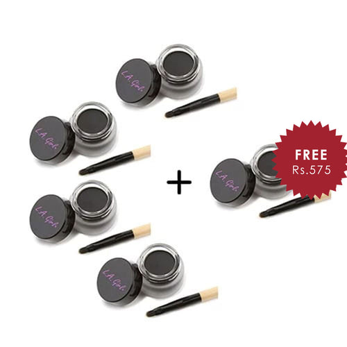 L.A. Girl Gel Liner Jet Black Kit 4pc Set + 1 Full Size Product Worth 25% Value Free