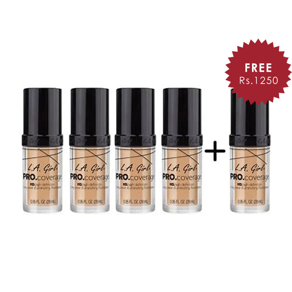 L.A. Girl Pro Coverage Illuminating HD Foundation- Natural 4pc Set + 1 Full Size Product Worth 25% Value Free