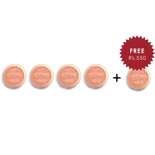 Makeup Revolution Blusher Reloaded Peach Bliss 4Pcs Set + 1 Full Size Product Worth 25% Value Free
