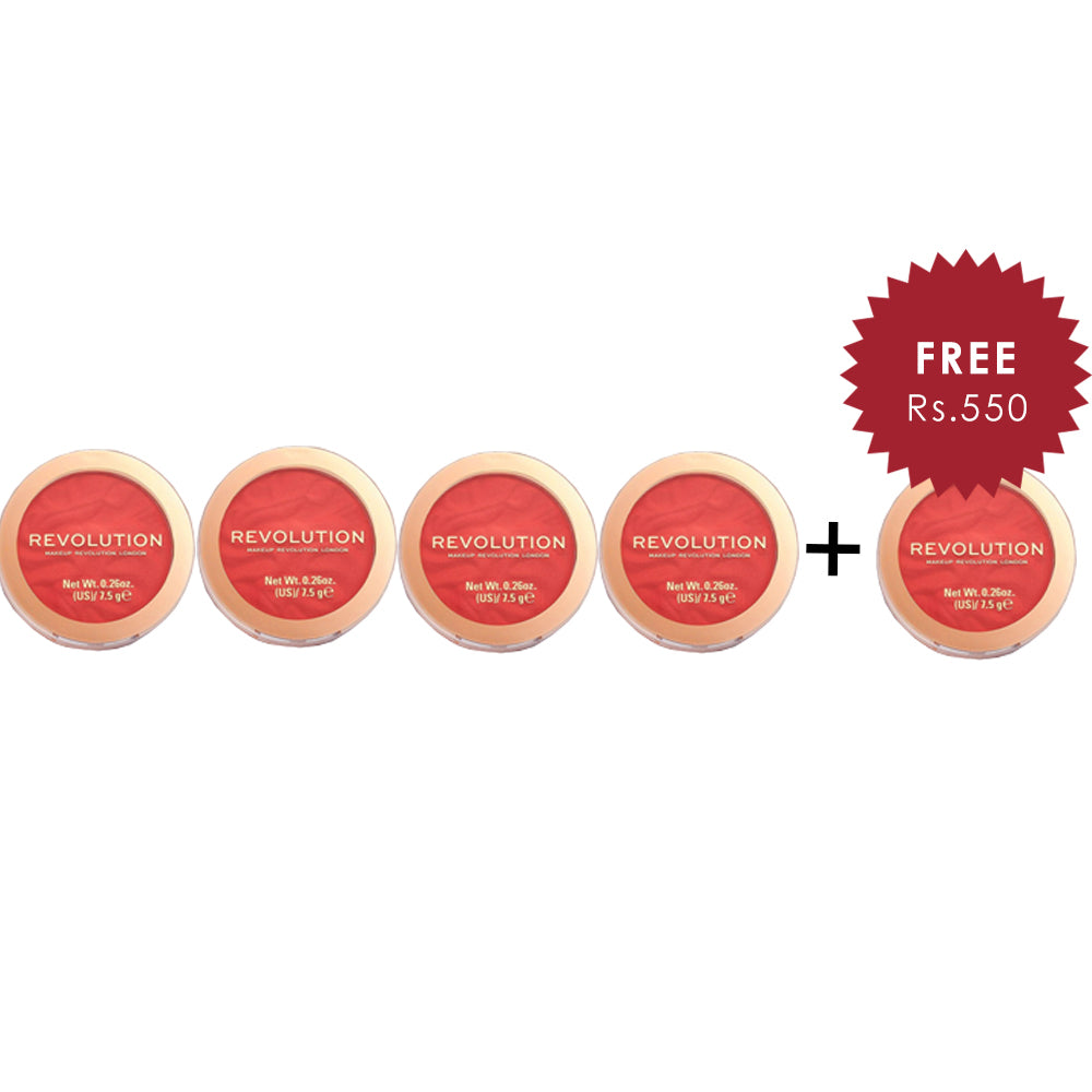 Makeup Revolution Blusher Reloaded Pop My Cherry 4Pcs Set + 1 Full Size Product Worth 25% Value Free