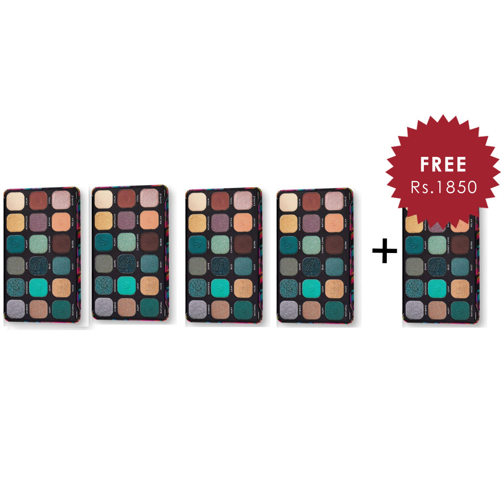 Makeup Revolution Forever Flawless Chilled with Cannabis Sativa Eyeshadow Palette 4Pcs Set + 1 Full Size Product Worth 25% Value Free