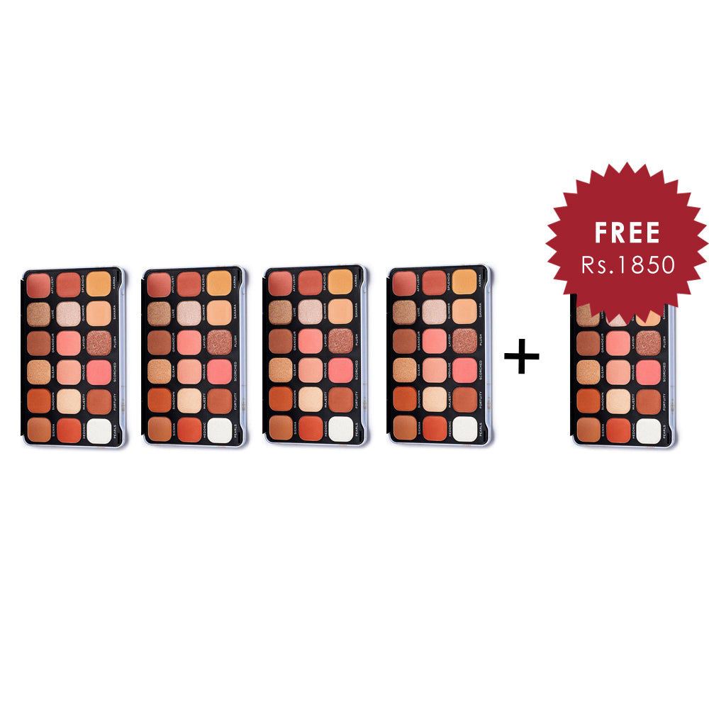Makeup Revolution Forever Flawless Decadent Eyeshadow Palette 4Pcs Set + 1 Full Size Product Worth 25% Value Free
