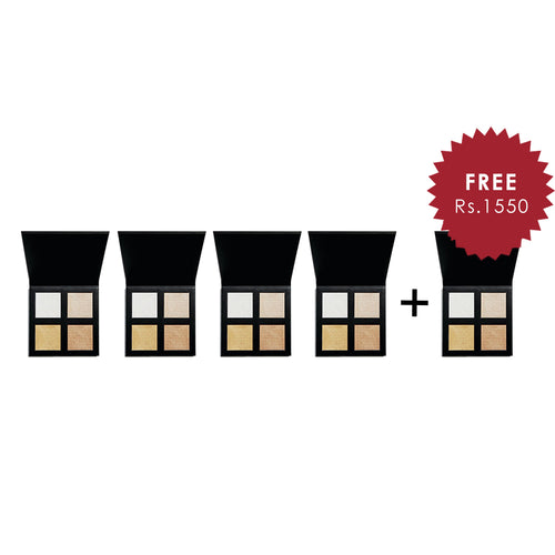 Revolution Pro 4K Highlighter Palette Gold 4Pcs Set + 1 Full Size Product Worth 25% Value Free