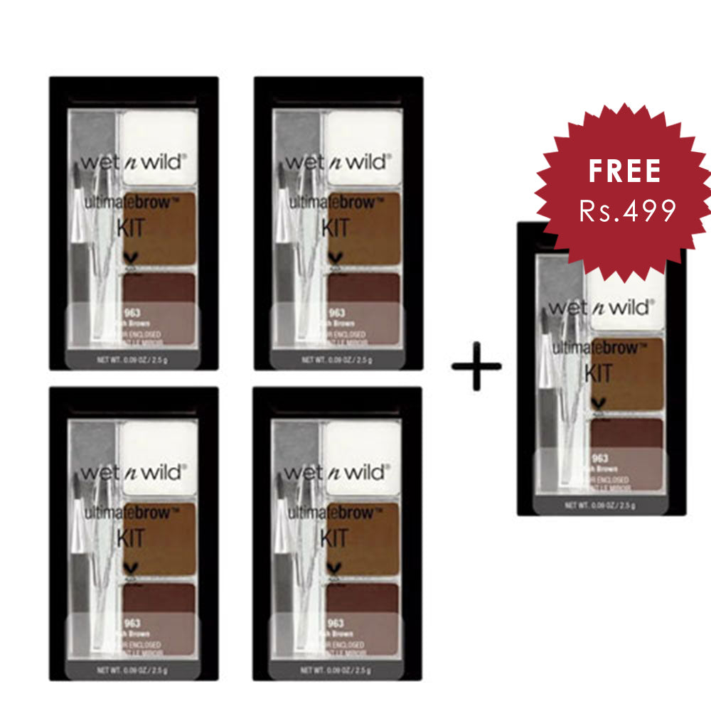 Wet N Wild Ultimate Brow Kit - Ash Brown 4pc Set + 1 Full Size Product Worth 25% Value Free