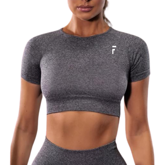 Impact Seamless Crop Top - Dark Gray