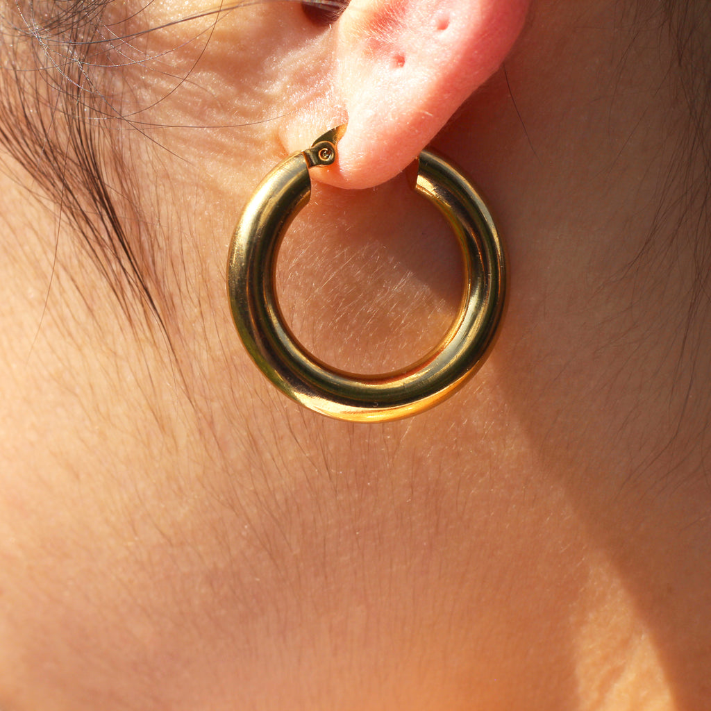 Gold Plated Chunky Hoop Earrings Mei Mi Studio