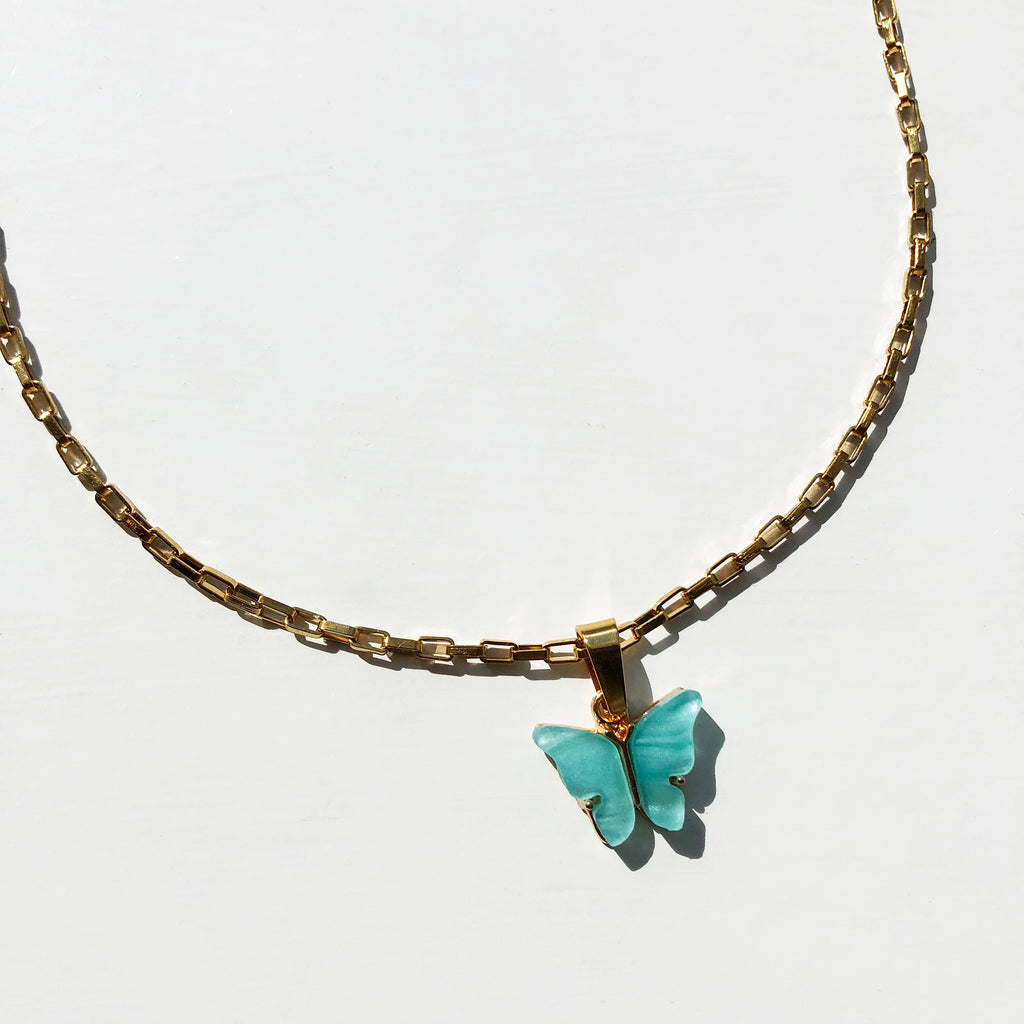 Aqua Butterfly Necklace