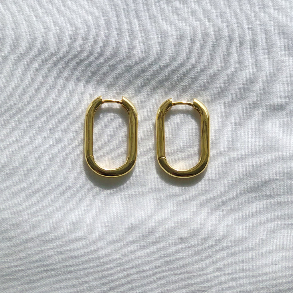 Gold Oval Hoop Earrings - Sienna