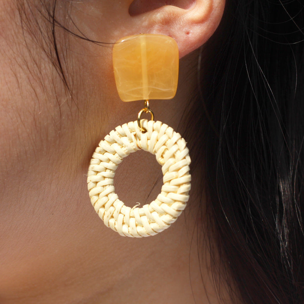 Marble Woven Wooden Round Earrings Handmade Worn