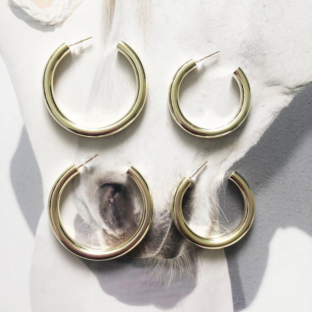 Medium Chunky Hoop Earrings Mei Mi Studio