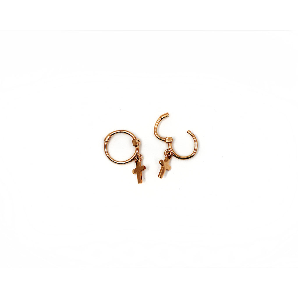 Rose Gold Cross Hoop Earrings - Mini Monroe