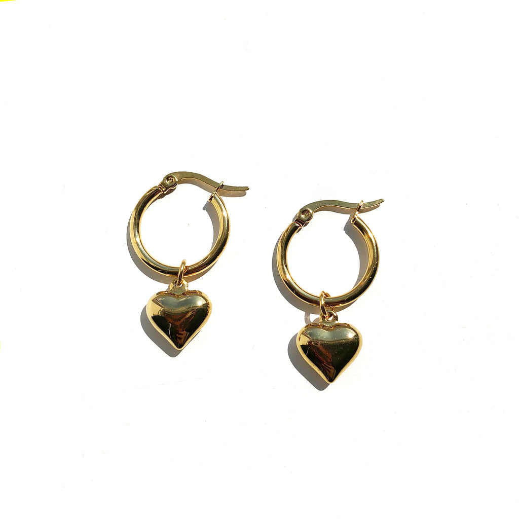 Bubble Heart Gold Hoop Earrings - Lucia