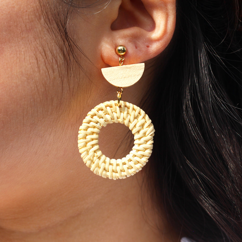 Handmade Round Woven Drop Earrings