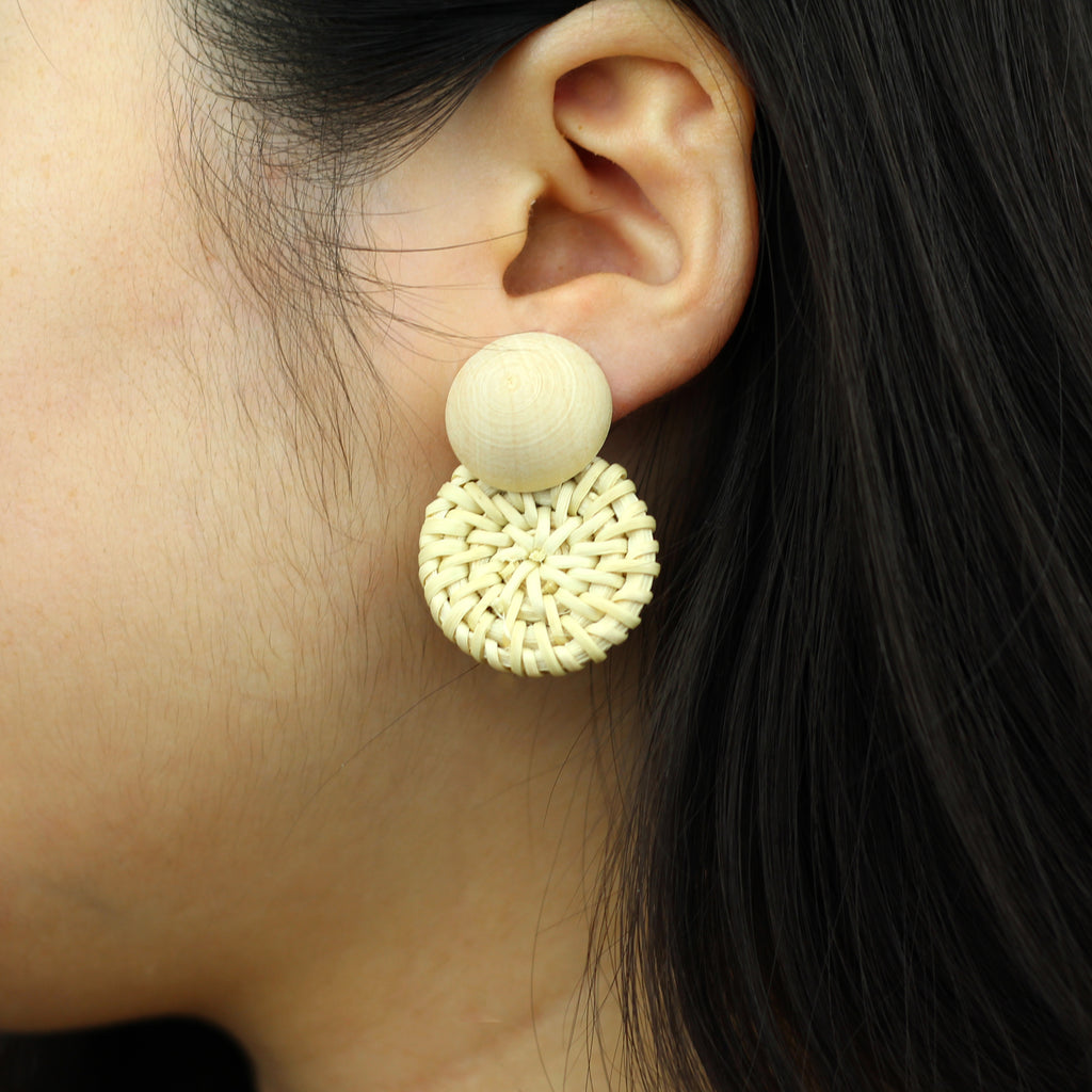 Handmade Round Wooden Woven Earrings
