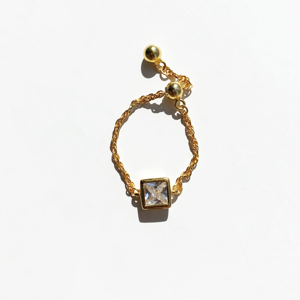 Gold Vermeil Clear Stone Square Chain Ring - Sage