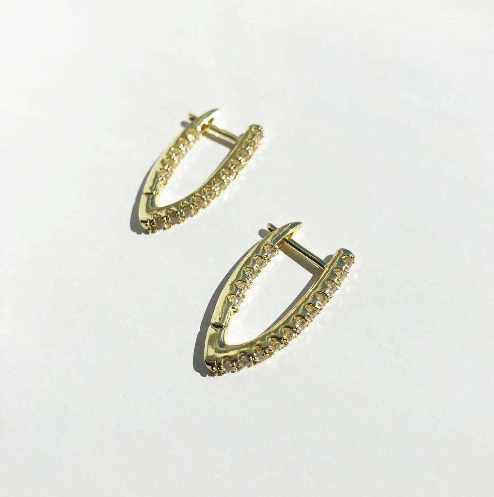 Paved Dagger Huggie Earrings - Mina
