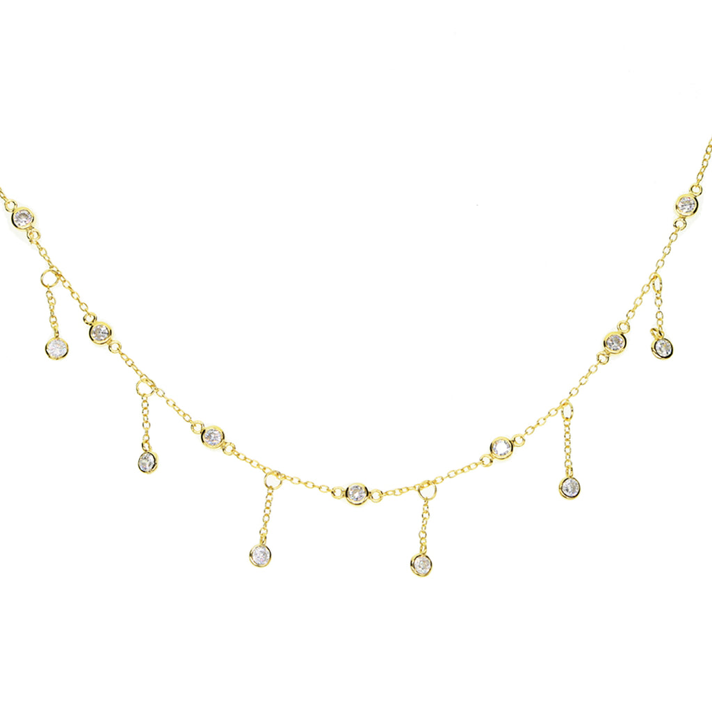 Gold Cubic Zirconia Drop Necklace Mei Mi Studio