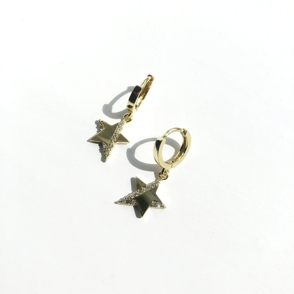 Gold Mini Star Cluster Hoop Earrings - Nova