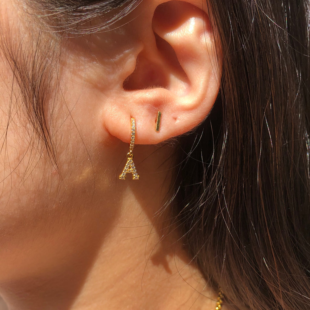 Gold Vermeil Bar Studs