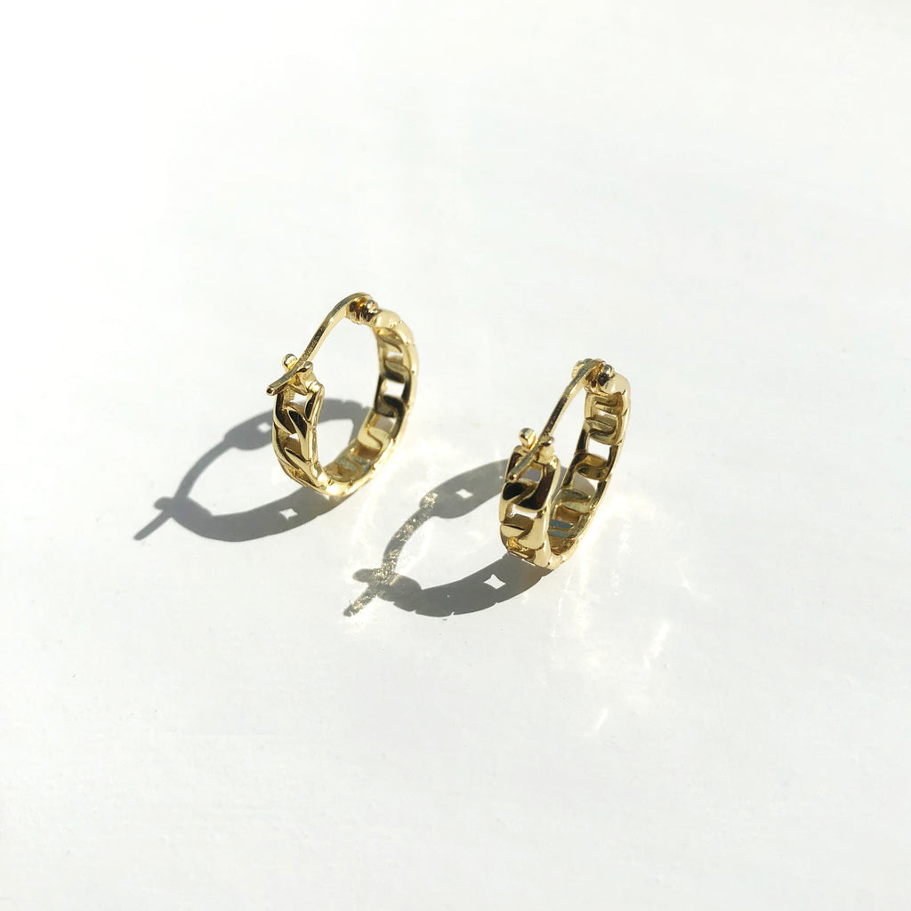 Gold Chain Hoop Earrings - Alina