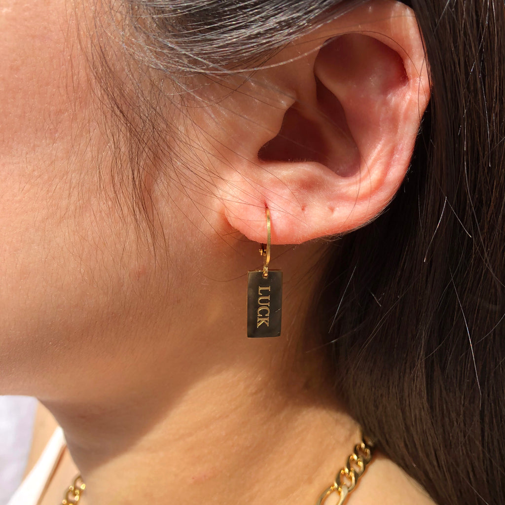 Gold Luck Hoop Earrings