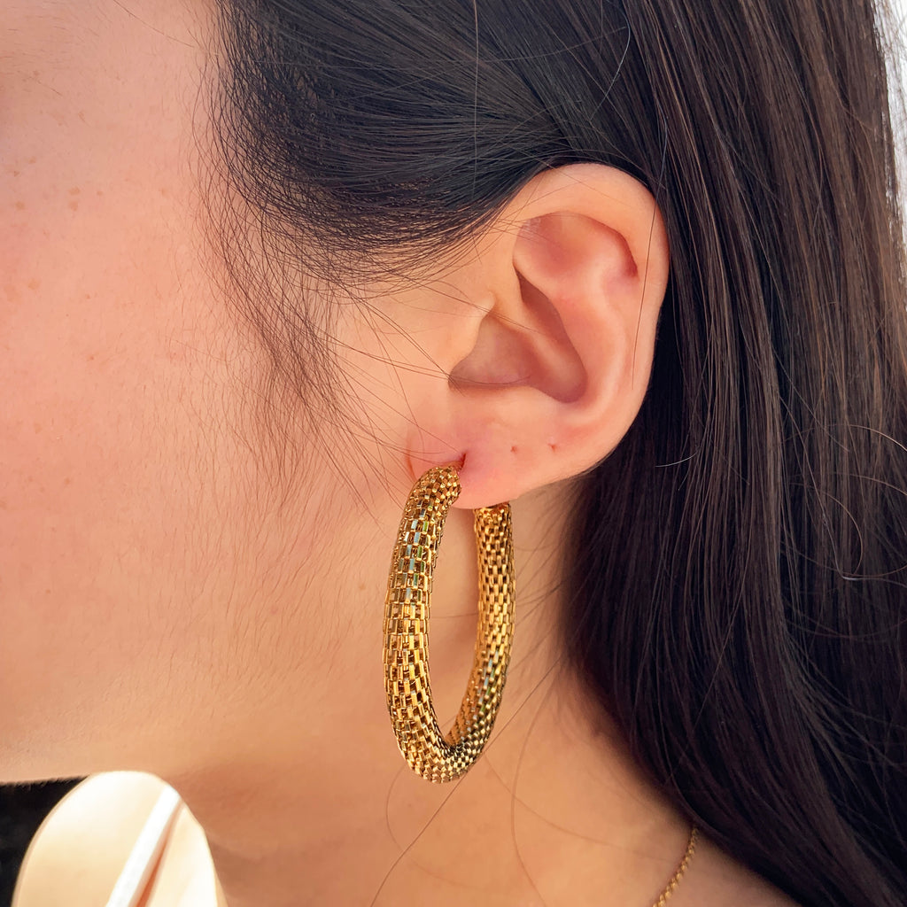 Gold Mesh Statement Hoops - Lia