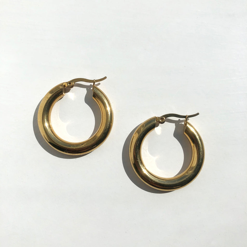 Gold Plated Chunky Hoop Earrings - Aspen