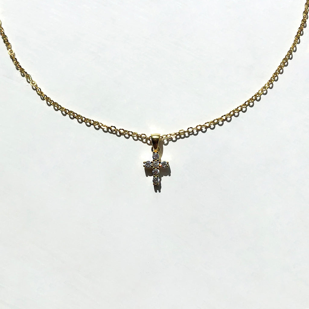Gold Vermeil Tiny Cross Pendant Necklace